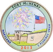 25 центов 2013 США Форт МакГенри (Fort McHenry), 19-й парк, цветной