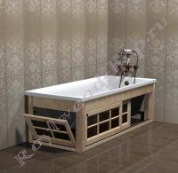 """Экран для ванной """"Глазго раздвижной, береза"""" угловой с откидной дверкой"""
