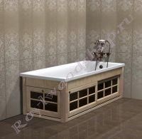 """Экран для ванной """"Глазго раздвижной, береза"""" 150/160/170/180 см со стеклянными дверками"""
