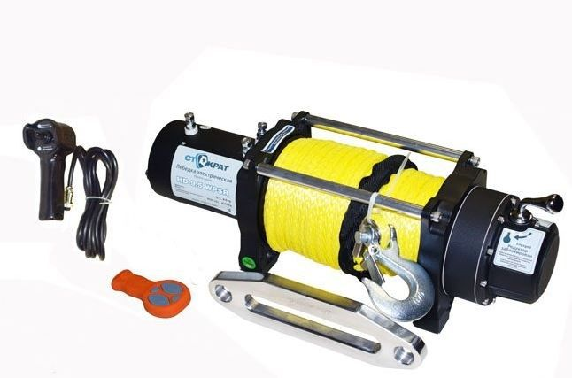 Лебедка электрическая СТОКРАТ HD 9.5 WP, 12V, 6.0 л.с. с синтетическим тросом и радиопультом.