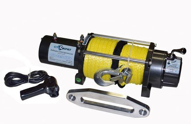 Лебедка электрическая автомобильная СТОКРАТ SD 12.5 SW, 12V, 6.5 л.с., синтетический трос