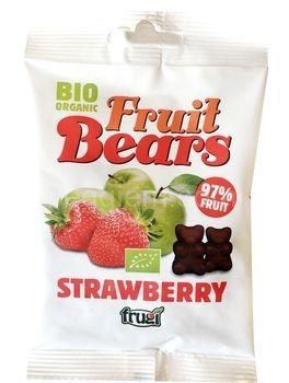 Органические фруктовые медвежуйки со вкусом яблока и клубники Fruit Bears,50 грамм