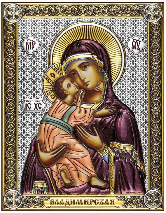 Серебряная Владимирская икона Божией Матери (Италия, 14х18 см)