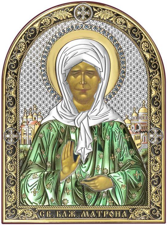 Серебряная икона Святая Матрона Московская (Италия)