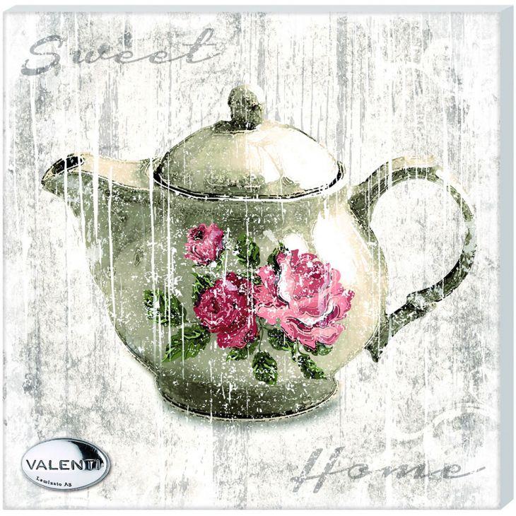 "Картина ""Чайник с розами"" (Италия, 12х12 см.)"