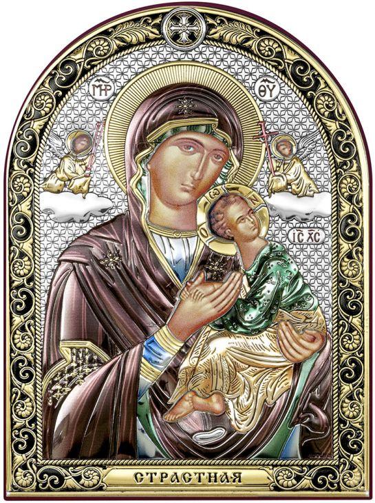 Серебряная Страстная икона Божией Матери (Италия, 11х15 см)