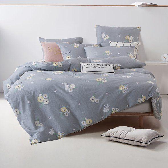 Комплект постельного белья Делюкс 2 спальный Сатин на резинке LR165