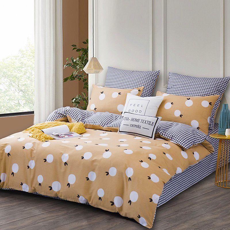 Комплект постельного белья Делюкс 2 спальный Сатин на резинке LR187
