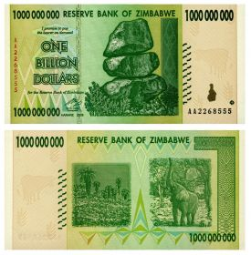 Зимбабве 1 миллиард (1000000000) долларов 2008
