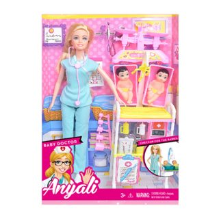 """Игр. набор """"Доктор"""", в комплекте кукла 30 см, пупс 3шт., предметов 9 шт., кор."""