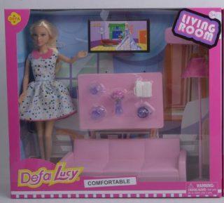 Кукла Defa Lucy. Набор: ?Мой любимый дом?. 1 кукла, 10 предм.в компл.