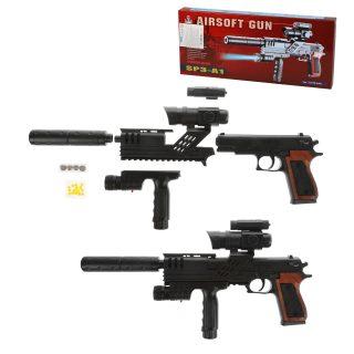 Пистолет-автомат мех. с прицелом, в комплекте: пули 10шт., глушитель, фонарь, эл.пит.LR1130/AG10*6шт., коробка