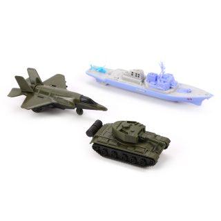 Игр.набор Военный, в комплекте: танк инерц., самолет инерц., корабль без механизма, пакет