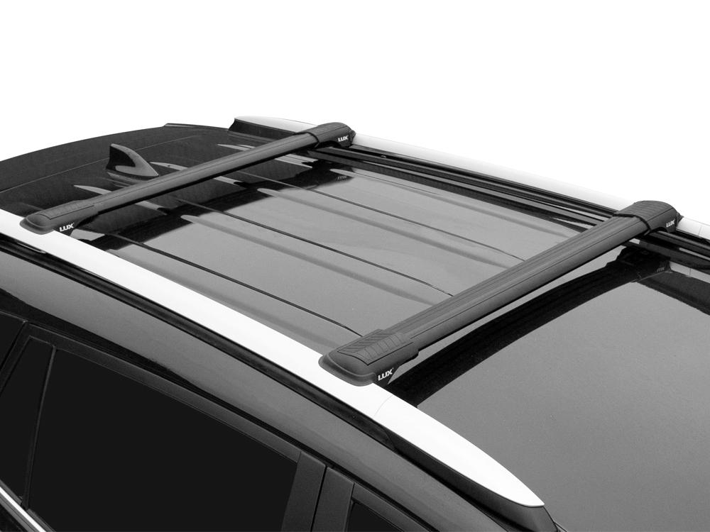 Багажник на рейлинги Lada Largus, Lux Hunter, черный, крыловидные аэродуги