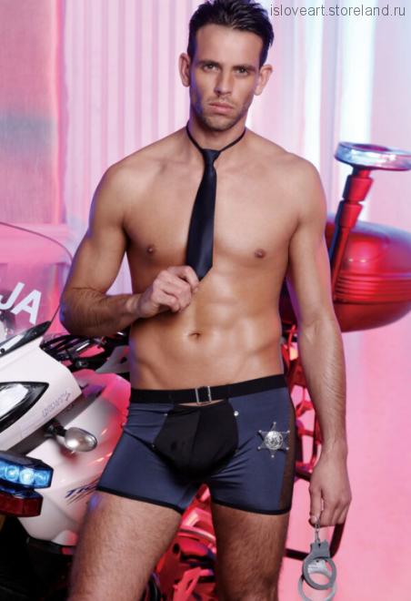 Костюм полицейского Candy Boy (трусы, значок, галстук), черно-синий, OS