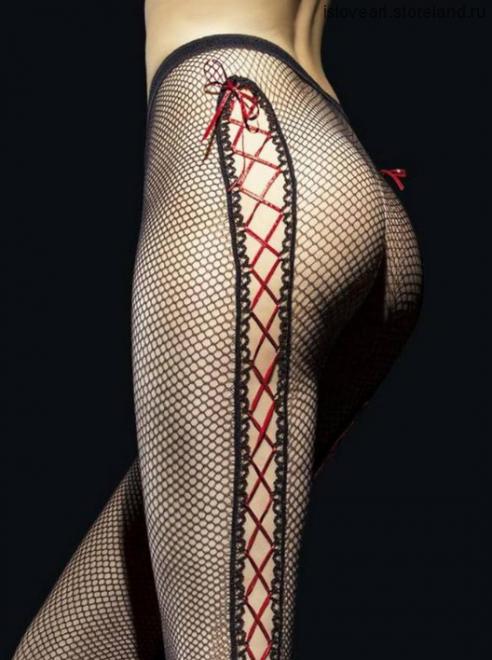 Колготки в сетку, размер 2, цвет черный