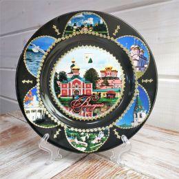 Тарелка сувенирная «Валдай.Иверский монастырь.Коллаж»(черная)