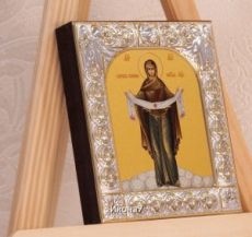 Покров Пресвятой Богородицы икона БМ (9х10,5см)