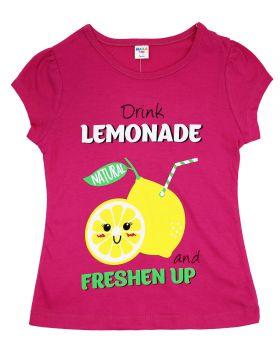 """Футболка для девочки 4-8 года Dias kids """"Lemonade"""" малиновая"""
