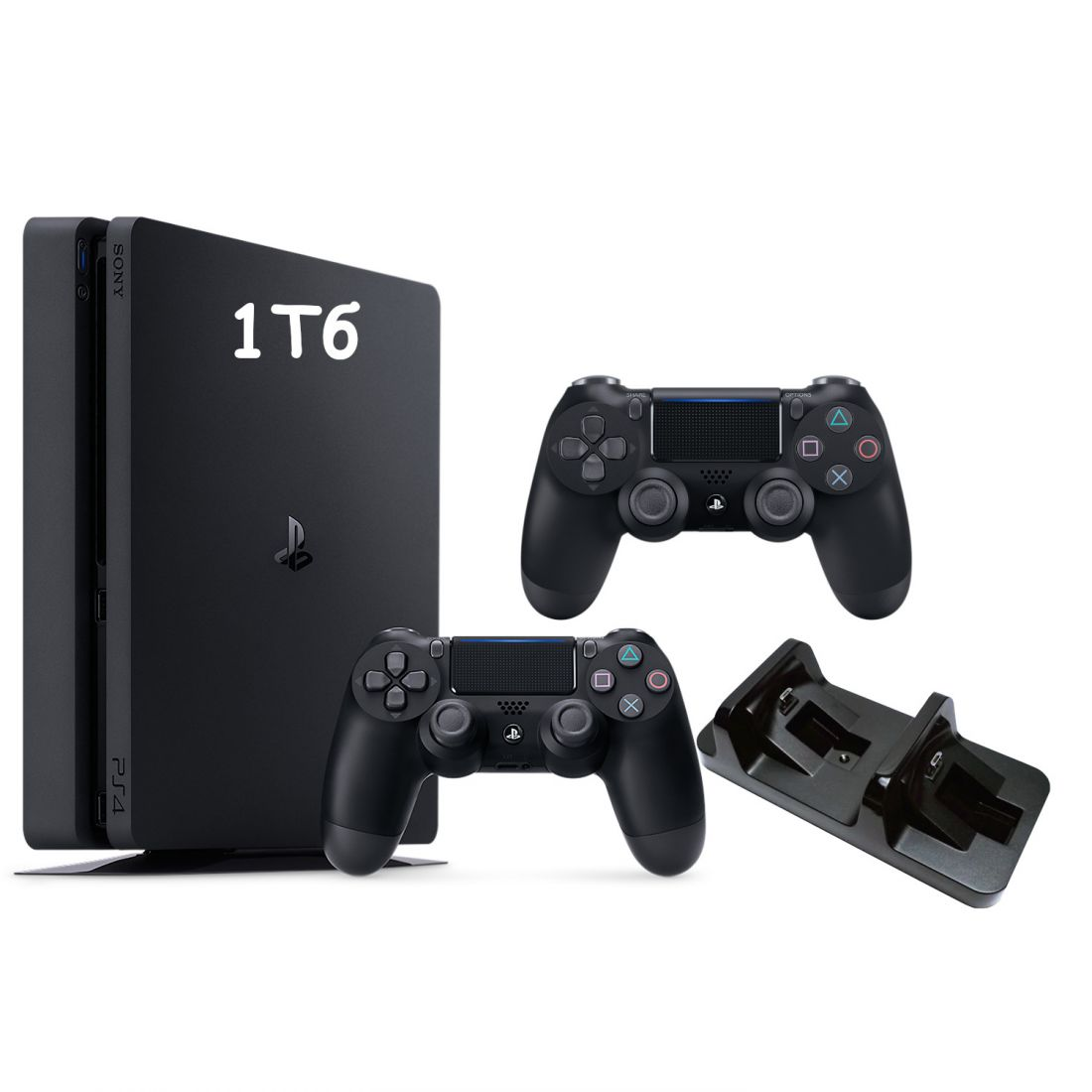 Sony PlayStation 4 Slim 1 Тб + Доп. джойстик + Зарядка для 2х джойстиков + Вертикальная подставка