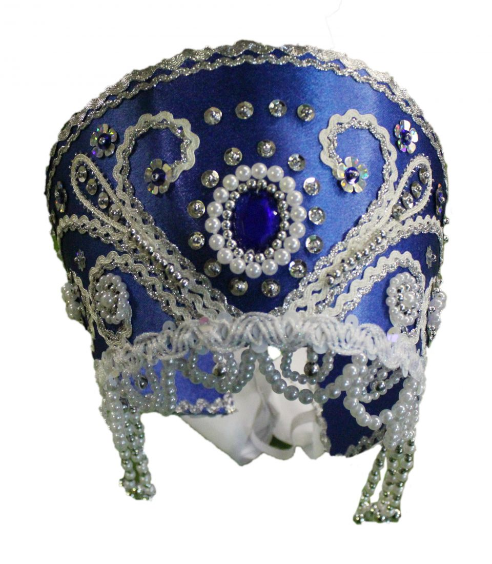 Синий кокошник с узором