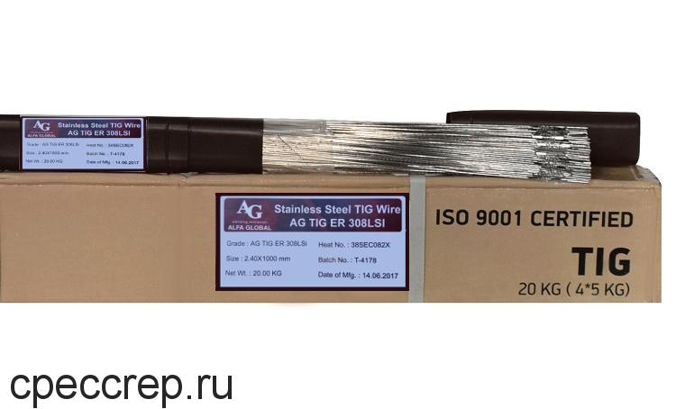 Присадочный пруток AG TIG ER 308L d=1,6*1000 туба-5кг