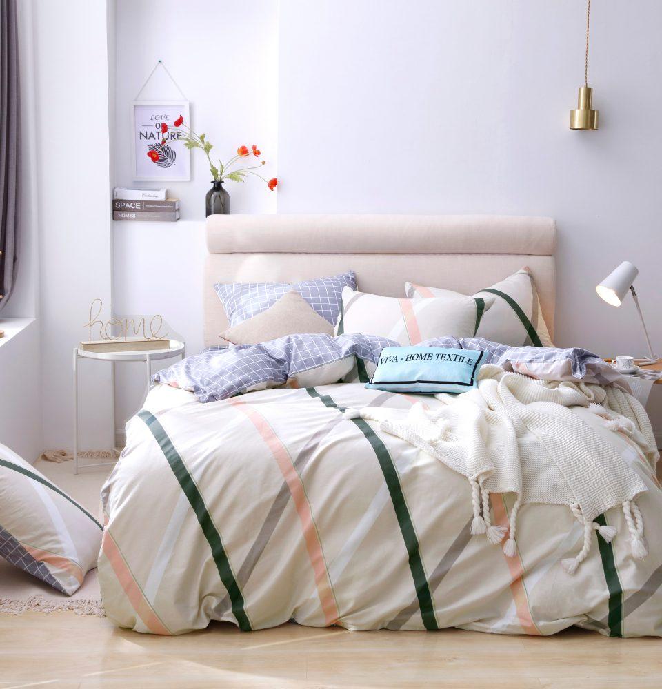Комплект Евро  постельного белья Люкс-Сатин на резинке AR095