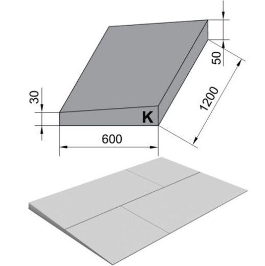 Утеплитель ТехноНиколь XPS 1200х600х80мм Carbon Prof 250 Клиновидный Slope -3,4% S/2 Элемент K