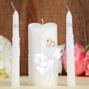 """Набор свечей """"Кружевной"""", белый : Домашний очаг 6.8х15см, Родительские свечи 1.8х17.5см 1624261"""