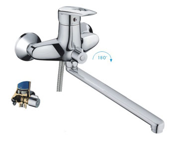 Смес ванна 40мм FRAP 2207 дивертор в корп. пл.нос 300