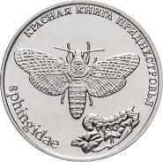 1 рубль ПРИДНЕСТРОВЬЕ 2018 год - Бабочка Адамова голова Красная книга