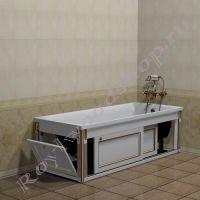"""Экран под чугунную ванну """"Руссильон PROVENCE белое золото"""" с открытой торцевой дверкой"""
