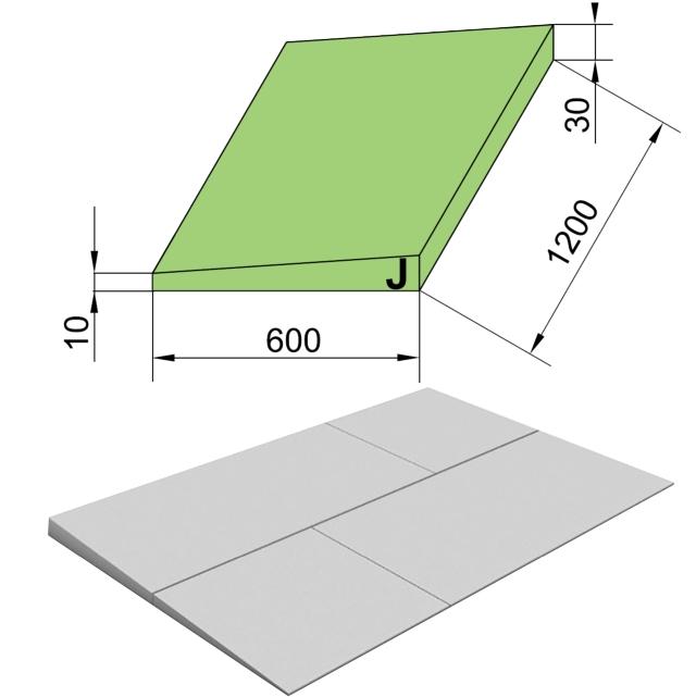 Утеплитель ТехноНиколь XPS Carbon Prof 250 Клиновидный Slope -3,4% S/2, Элемент J, 1200х600х40мм