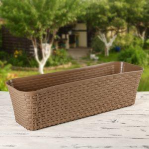 """Балконный ящик 60 см """"Ротанг"""", цвет коричневый"""