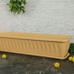 """Балконный ящик с поддоном 80 см """"Алиция"""", цвет белая глина"""