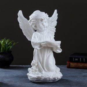 """Фигура """"Ангел сидя с сердцем боком"""" бело-золотой, 14х11х10,5см 5070305"""