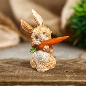 "Сувенир полистоун миниатюра ""Зайка с морковкой"" 6,5х3,5х6 см   4128474"