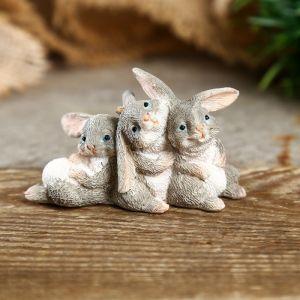 """Сувенир полистоун миниатюра """"Зайчишки"""" 4х3,5х7 см   4128473"""
