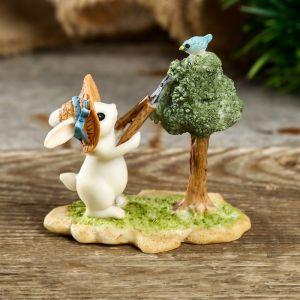 "Сувенир полистоун миниатюра ""Зайчонок-садовник"" 6,5х4,5х6,5 см   4128484"
