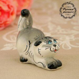 Сувенир  «Котик», серый микс, гжель 1318185