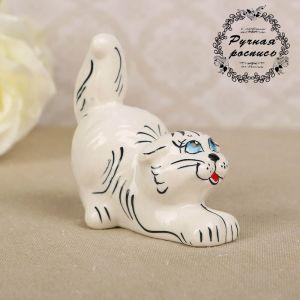 Сувенир «Котик», белый микс, гжель 2542118