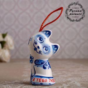 "Сувенирный колокольчик ""Котёнок""  №1 гжель , 6 см   4778319"