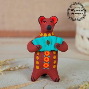 """Дымковская игрушка """"Медведь с цветком, с петухом, с гармонью"""", 11 см,  микс 1476974"""