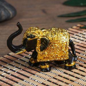 """Нэцке полистоун """"Слон - символ богатства"""" чёрный с золотом 5,3х3х7 см   4634925"""
