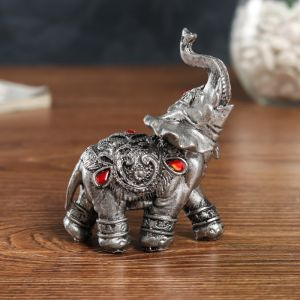 """Сувенир полистоун """"Серебристый слон в попоне с рубинами"""" 10х5,5х10 см   4634958"""