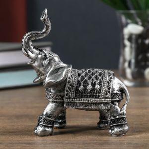 """Сувенир полистоун """"Серебристый слон в попоне-ковре"""" 10х5,5х10 см   4634959"""