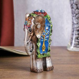 """Сувенир полистоун """"Слон с павлином на попоне"""" 15х9х4,7 см 2017522"""