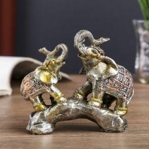 """Сувенир полистоун """"Слоны на камне с попонах с наскальными рисунками"""" 11х11х3,5 см   4144379"""
