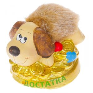 """Керамика фигурка """"Пёс на деньгах"""" 4х6х7 см 2352090"""