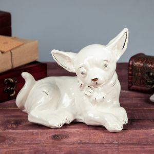 """Сувенир """"Собака Чихуахуа"""", лежачий, глянец, белый, 15 см, керамика"""